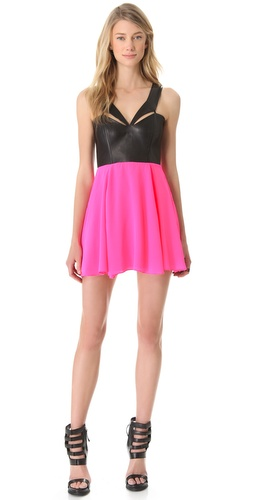 Mason by Michelle Mason Leather Dress With Neck Piece