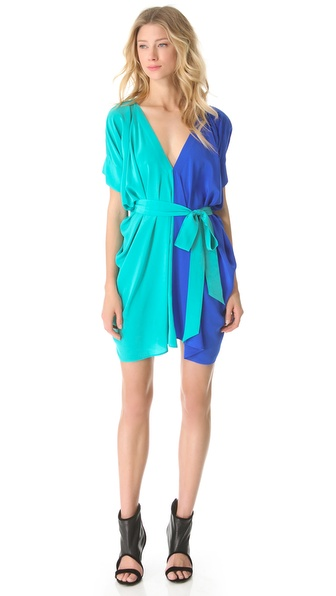 Mason by Michelle Mason Colorblock Belted Dress