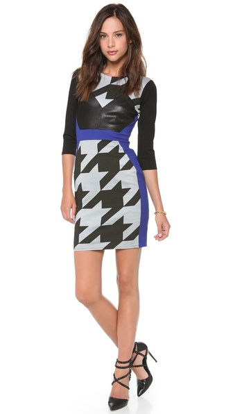 Mason by Michelle Mason Combo Long Sleeve Dress