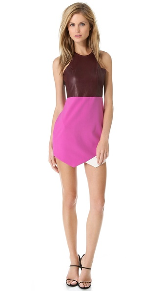 Mason by Michelle Mason Contrast Dress with Leather Bodice