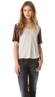 Mason by Michelle Mason Leather Sleeve Tee