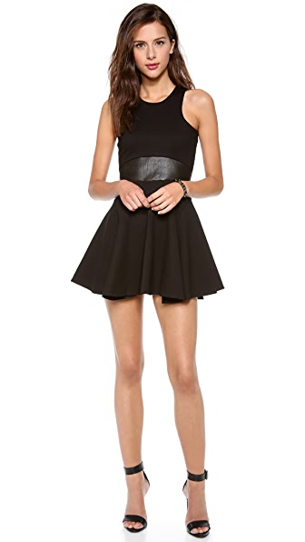 Mason by Michelle Mason Leather Trim Ponte Dress