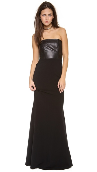 Mason by Michelle Mason Leather Front Corset Gown