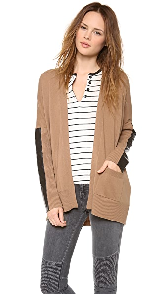 Mason by Michelle Mason Leather Sleeve Cardigan