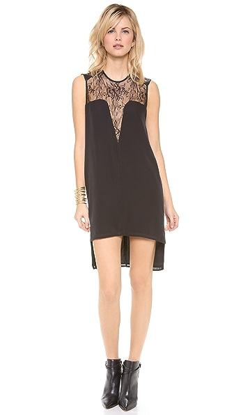 Mason by Michelle Mason Leather & Lace Shift Dress