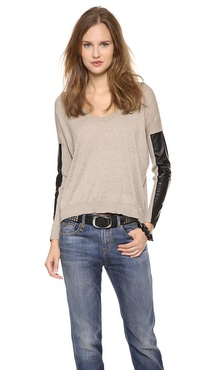 Mason by Michelle Mason Leather Sleeve Sweater