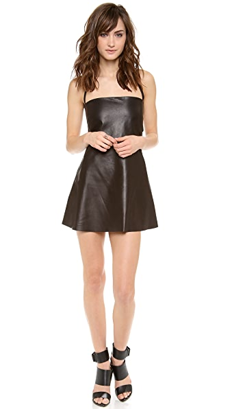 Mason by Michelle Mason Elastic Back Leather Dress