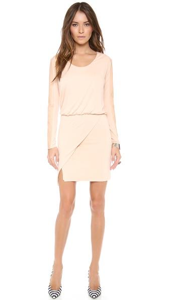 Mason by Michelle Mason Leather Sleeve Mini Dress