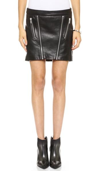 Mason by Michelle Mason Leather Zip Miniskirt