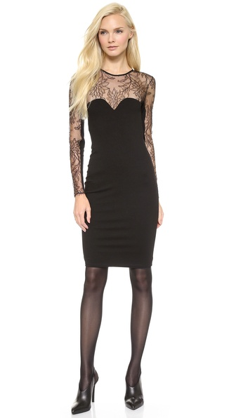 Mason by Michelle Mason Long Sleeve Dress with Lace