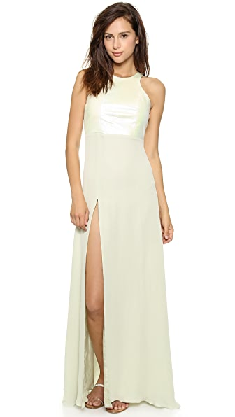 Mason by Michelle Mason Leather Racer Bodice Gown