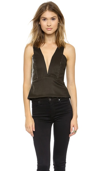 Mason by Michelle Mason Plunge Neck Metallic Tank