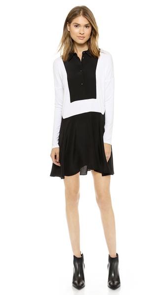 Mason by Michelle Mason Jersey & Silk Dress with Bib