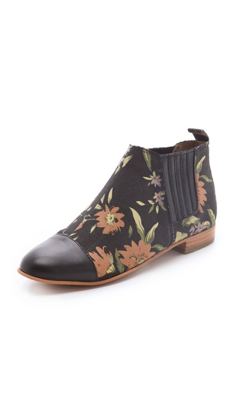 Matiko Jasper Floral Booties with Cap Toe