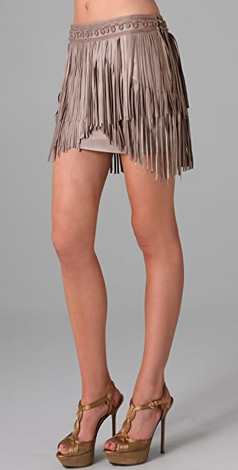 Matthew Williamson Fringed Leather Skirt