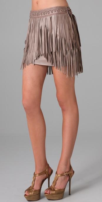 Matthew Williamson Fringed Leather Skirt