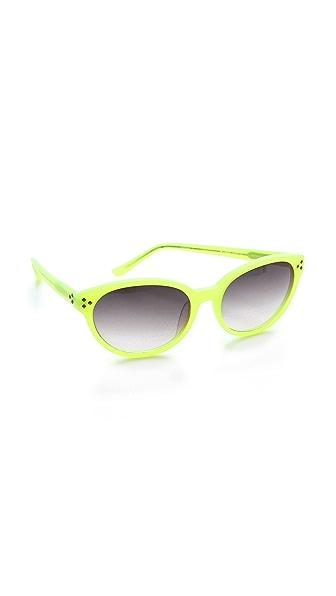 Matthew Williamson Neon Pointed Oval Sunglasses