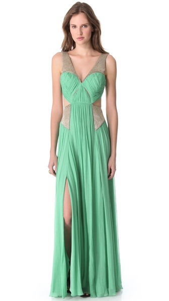Matthew Williamson Embroidered Cutout Gown
