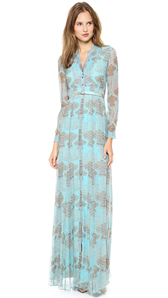 Matthew Williamson Godet Maxi Dress with Belt
