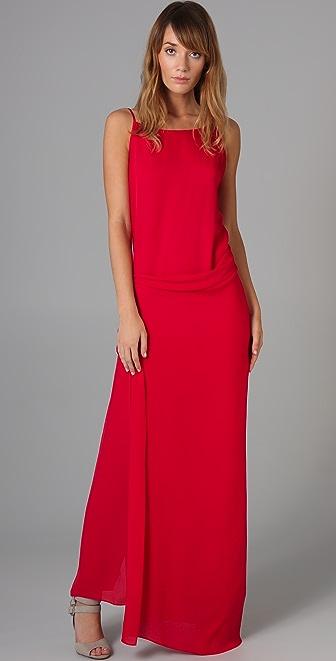 MAXAZRIA Long Square Neck Wrap Dress