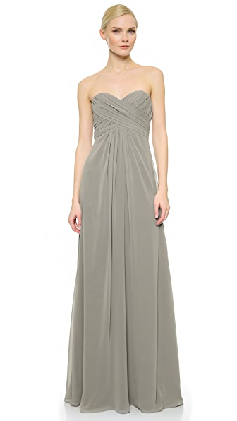 Kupi Monique Lhuillier Bridesmaids haljinu online i raspordaja za kupiti Monique Lhuillier Bridesmaids Pleated Sweetheart Gown Slate online