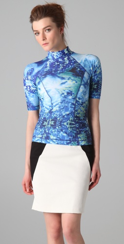 McQ - Alexander McQueen Mock Neck Rash Guard Top