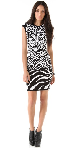 McQ - Alexander McQueen Zebra and Tiger Knit Dress