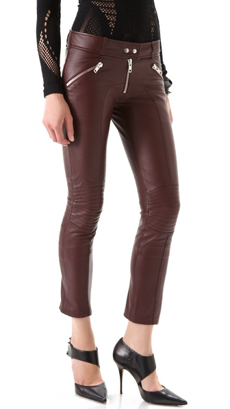 McQ - Alexander McQueen Biker Leather Zip Trousers