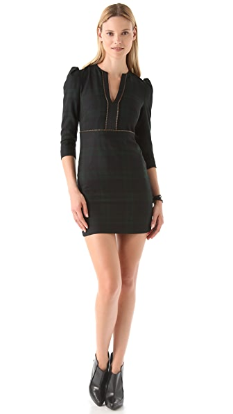 McQ - Alexander McQueen Slash Neck Plaid Dress