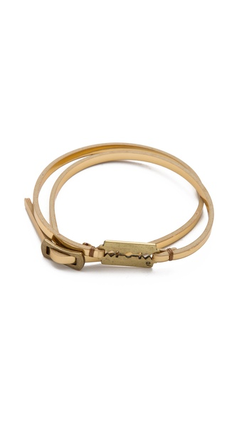 McQ - Alexander McQueen Metallic Leather Wrap Bracelet