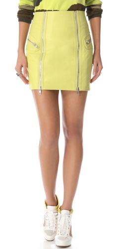 McQ - Alexander McQueen Double Zip Leather Skirt