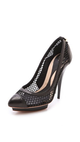 McQ - Alexander McQueen Mesh Cap Toe Pumps