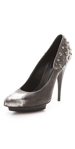 McQ - Alexander McQueen Metallic Studded Platform Pumps at Shopbop / East Dane