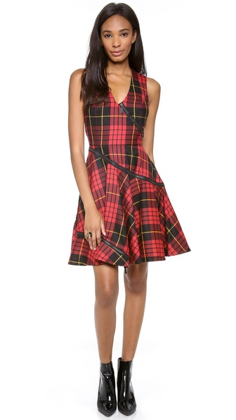 McQ - Alexander McQueen Plaid V Neck Dress
