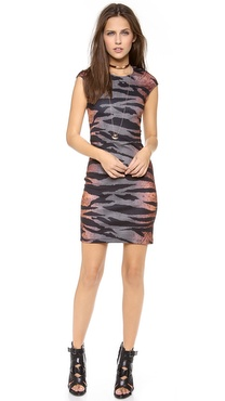 McQ - Alexander McQueen Interlocking Cap Sleeve Dress