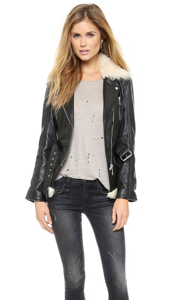 McQ - Alexander McQueen Leather Jacket with Long Fur