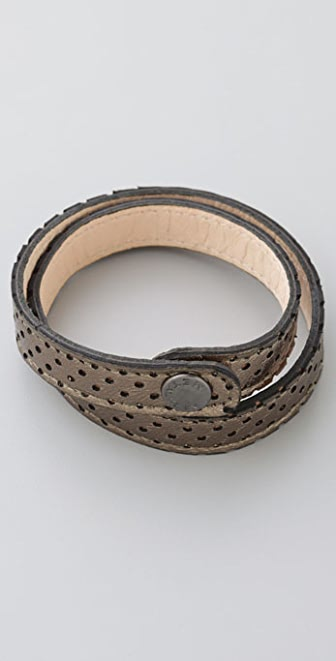 METALSKIN Perforated Pewter Wrap Bracelet