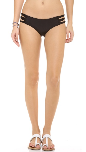 Shop MIKOH SWIMWEAR online and buy Mikoh Swimwear Velzyland String Bikini Bottoms Night - Slim, looped bands compose the sides of daring bikini bottoms. Lined. 80% nylon/20% lycra spandex. Hand wash. Imported, Indonesia. Available sizes: S