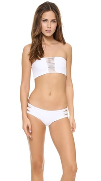 MIKOH SWIMWEAR Sunset Skinny String Bandeau Bikini Top
