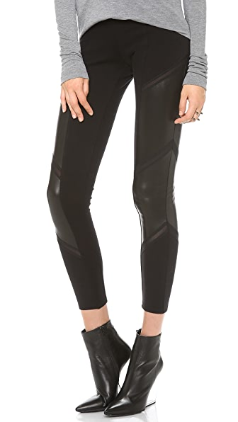 Mila Hermanovski Chevron Leather Leggings