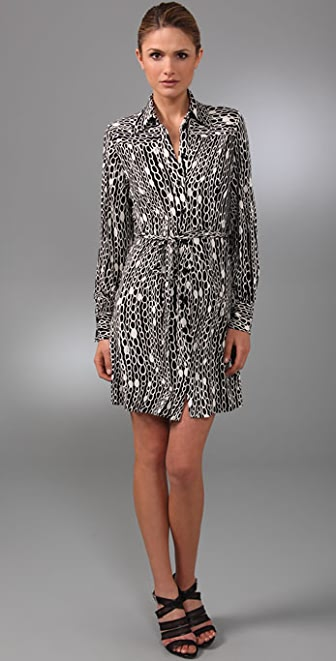 Milly Chain Print Belted Shirtdress