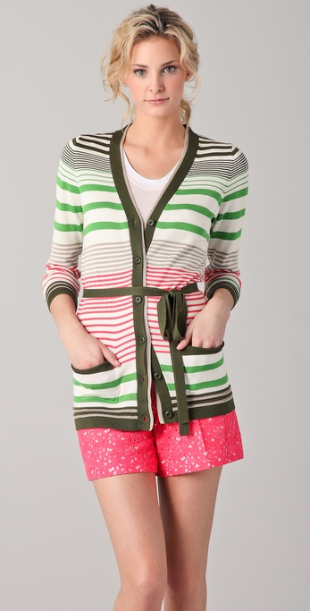 Milly Striped Boyfriend Cardigan