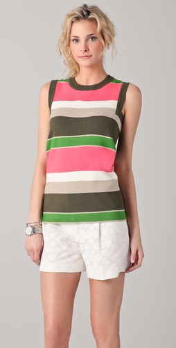 Milly Lydie Striped Mock Neck Top