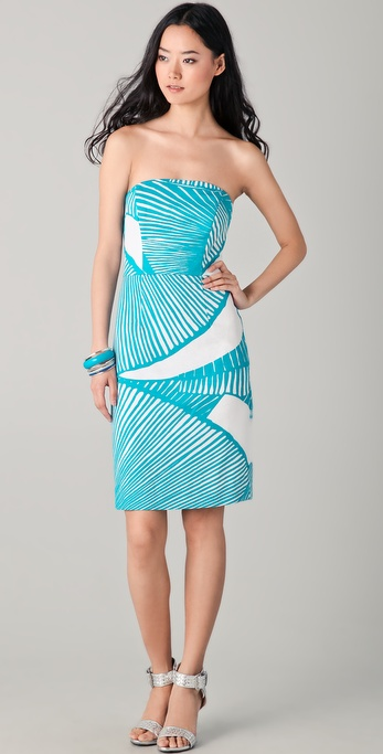 Milly Shell Print Wiggle Strapless Dress