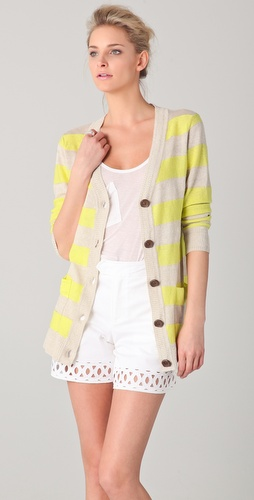 Milly Striped Cardigan Sweater