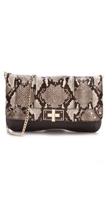 Milly Kathryn Embossed Python Clutch