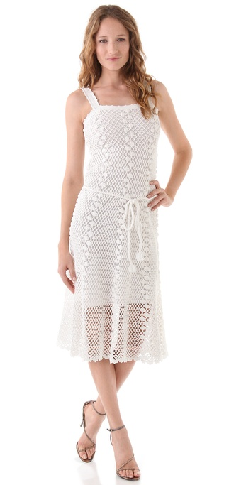 Milly Crochet Overlay Midi Dress