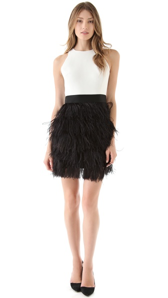 Milly Sasha Ostrich Feather Dress