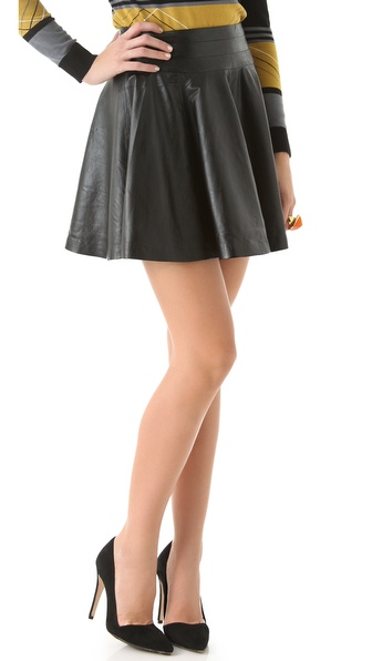 Milly Delphine Leather Swirl Skirt