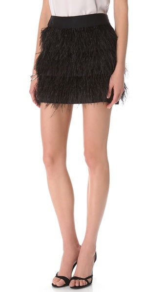 Milly Ostrich Fringe Miniskirt